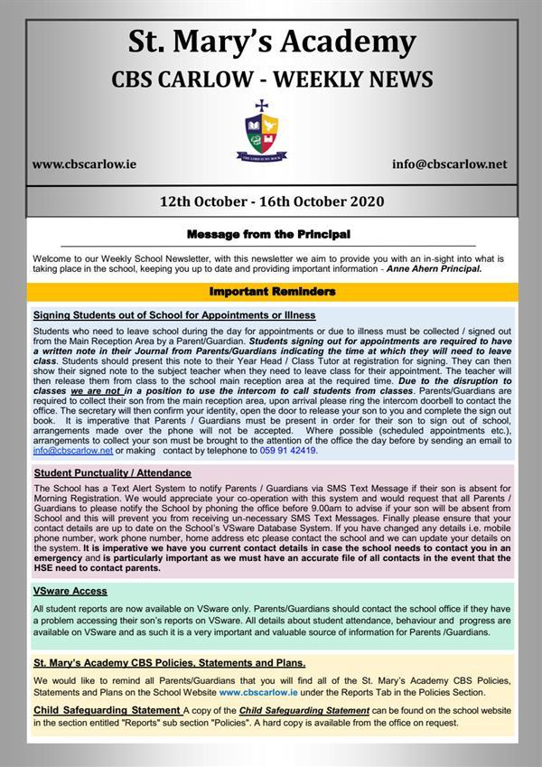 Weekly School Newsletter - 16th October 2020