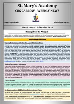 Weekly School Newsletter - 23rd October 2020
