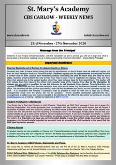 Weekly School Newsletter - 27th November 2020