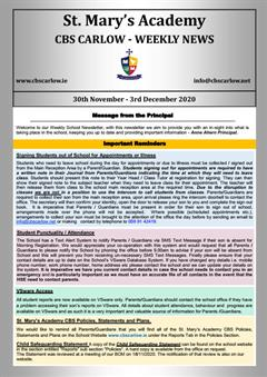 Weekly School Newsletter - 3rd December 2020