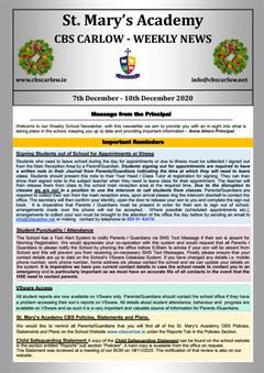 Weekly School Newsletter - 18th December 2020